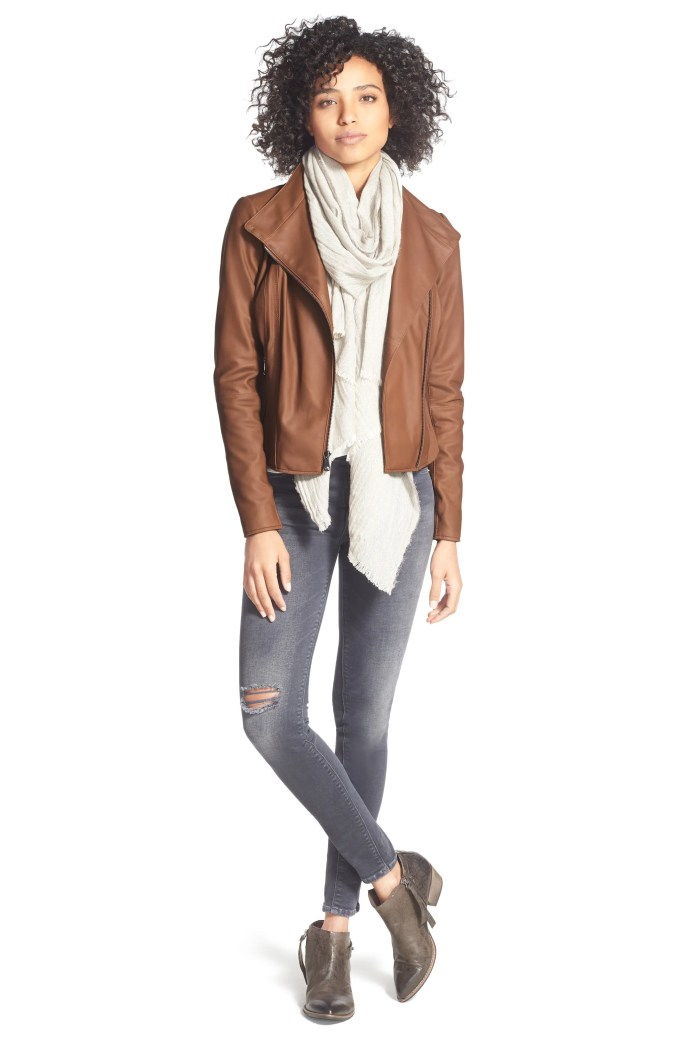 Marc New York by Andrew Marc Felix Stand Collar Leather Jacket, Alternate, color, WHISKEY