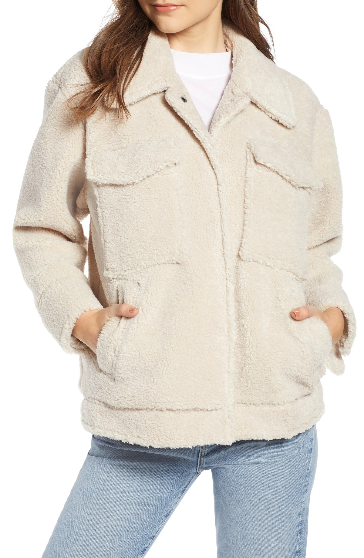 SOMETHING NAVY Faux Shearling Jacket, Main, color, IVORY BIRCH