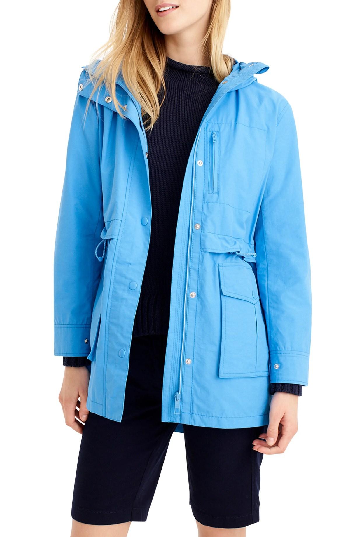 J.CREW Perfect Raincoat, Main, color, WATERCOLOR SKY