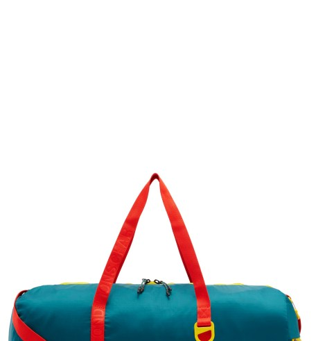 Packable Duffel Bag,                         Main,                         color, GEODE TEAL/ HABANERO RED