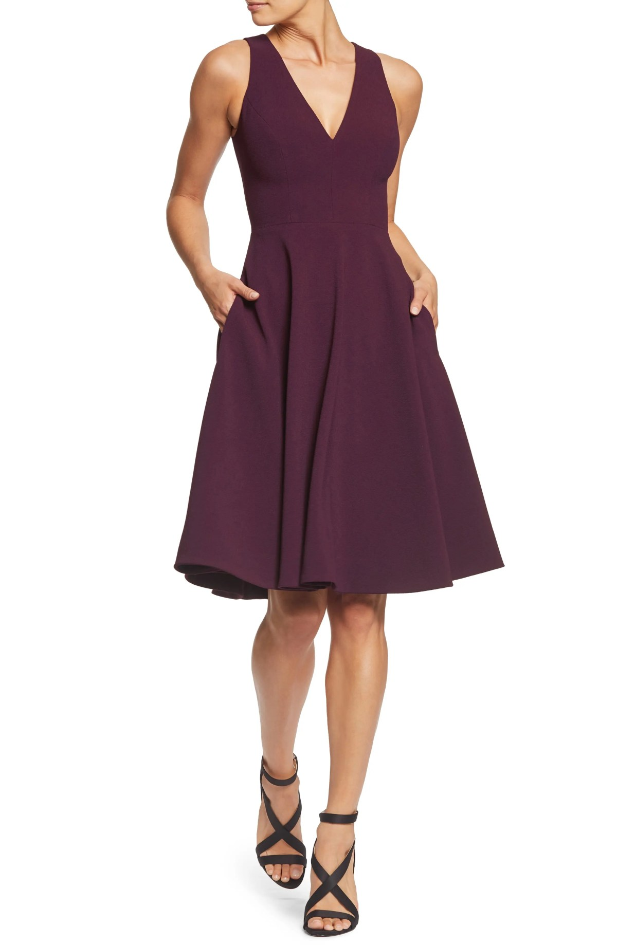 Catalina Tea Length Fit & Flare Dress, Main, color, PLUM