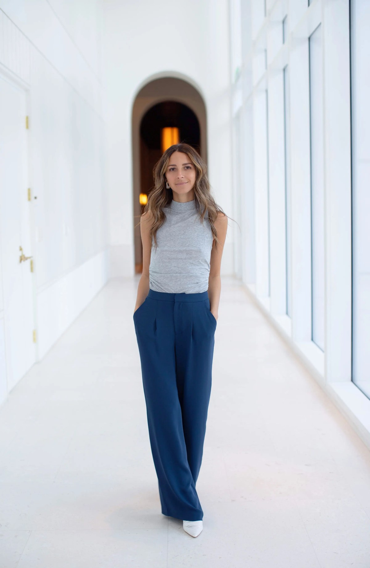 SOMETHING NAVY Relaxed High Waist Pants, Alternate, color, NAVY IRIS