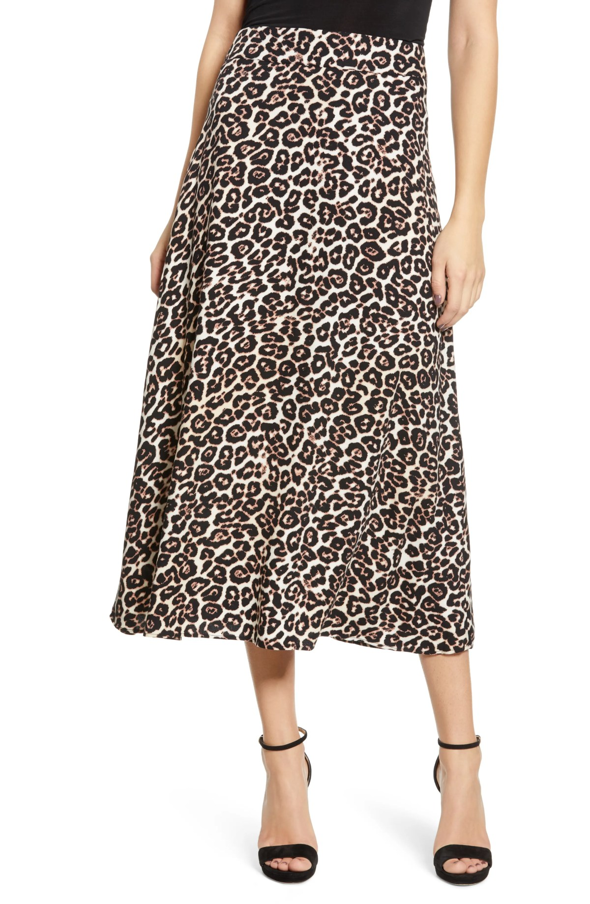 AFRM Kiwi Midi Skirt, Main, color, LEOPARD