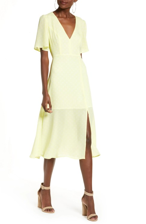 LEITH Flutter Sleeve Midi Dress, Main, color, YELLOW MERINGUE DOT