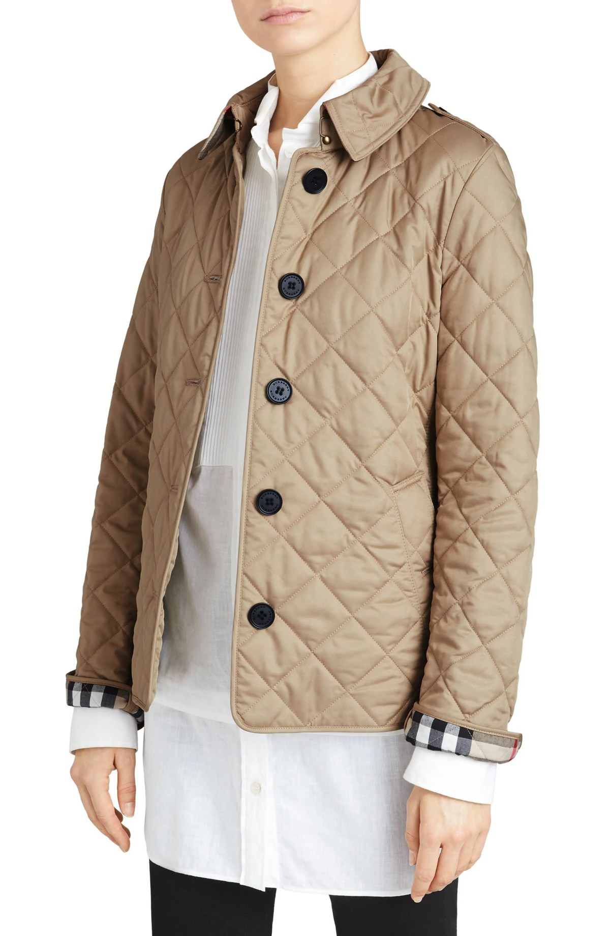 BURBERRY Frankby Quilted Jacket, Main, color, CANVAS
