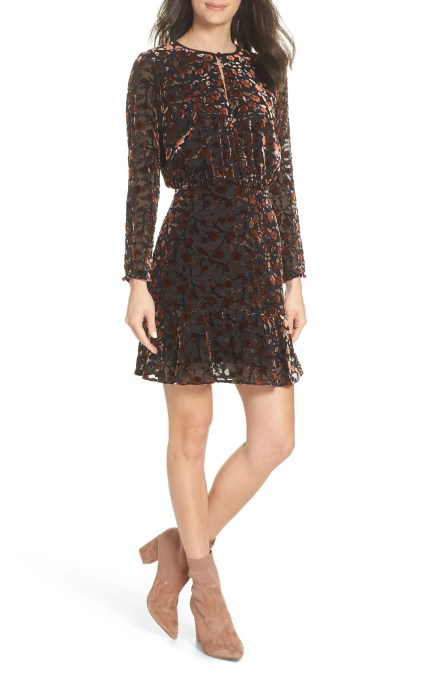 Velvet Burnout Dress, Main, color, ROSE/ WINE