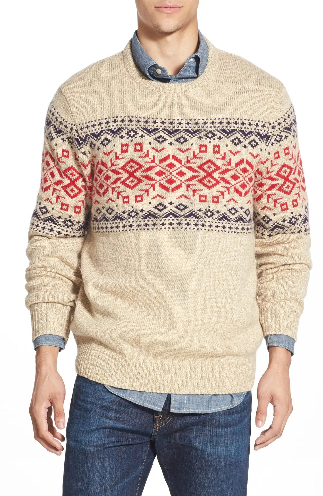 rag fair isle crewneck sweater with suede elbow patches main color also vineyard vines rh shoprdstrom