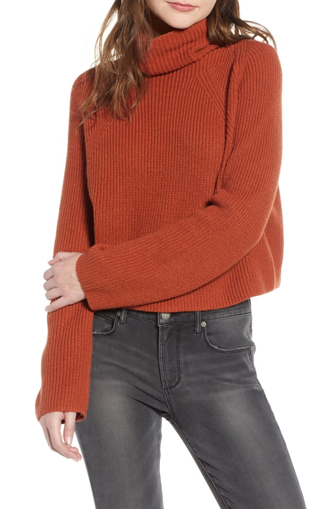 Transfer Stitch Turtleneck Sweater, Main, color, BROWN SPICE