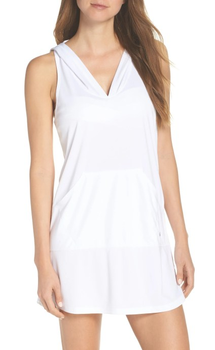 Hooded Cover-Up Dress, Main, color, WHITE