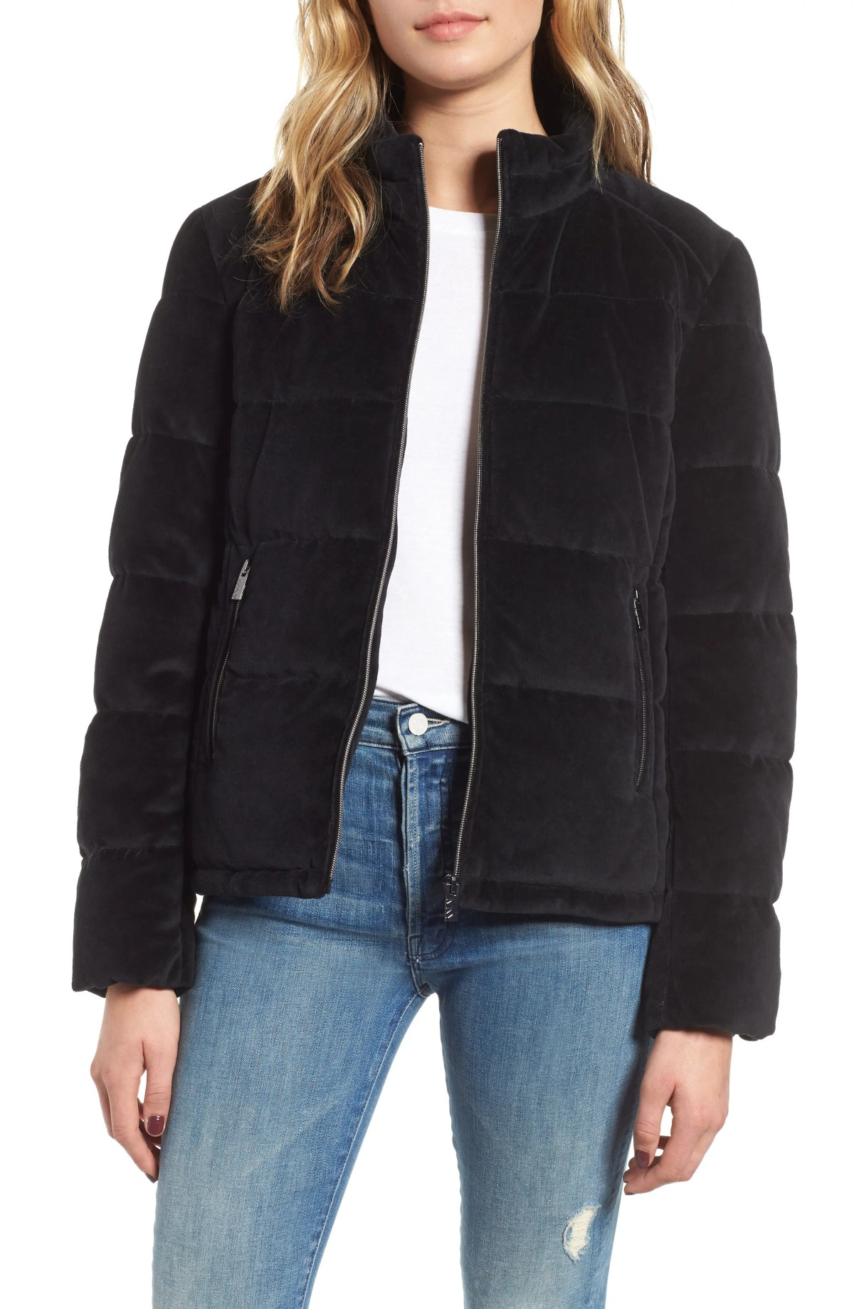 Velvet Puffer Jacket,                         Main,                         color, BLACK