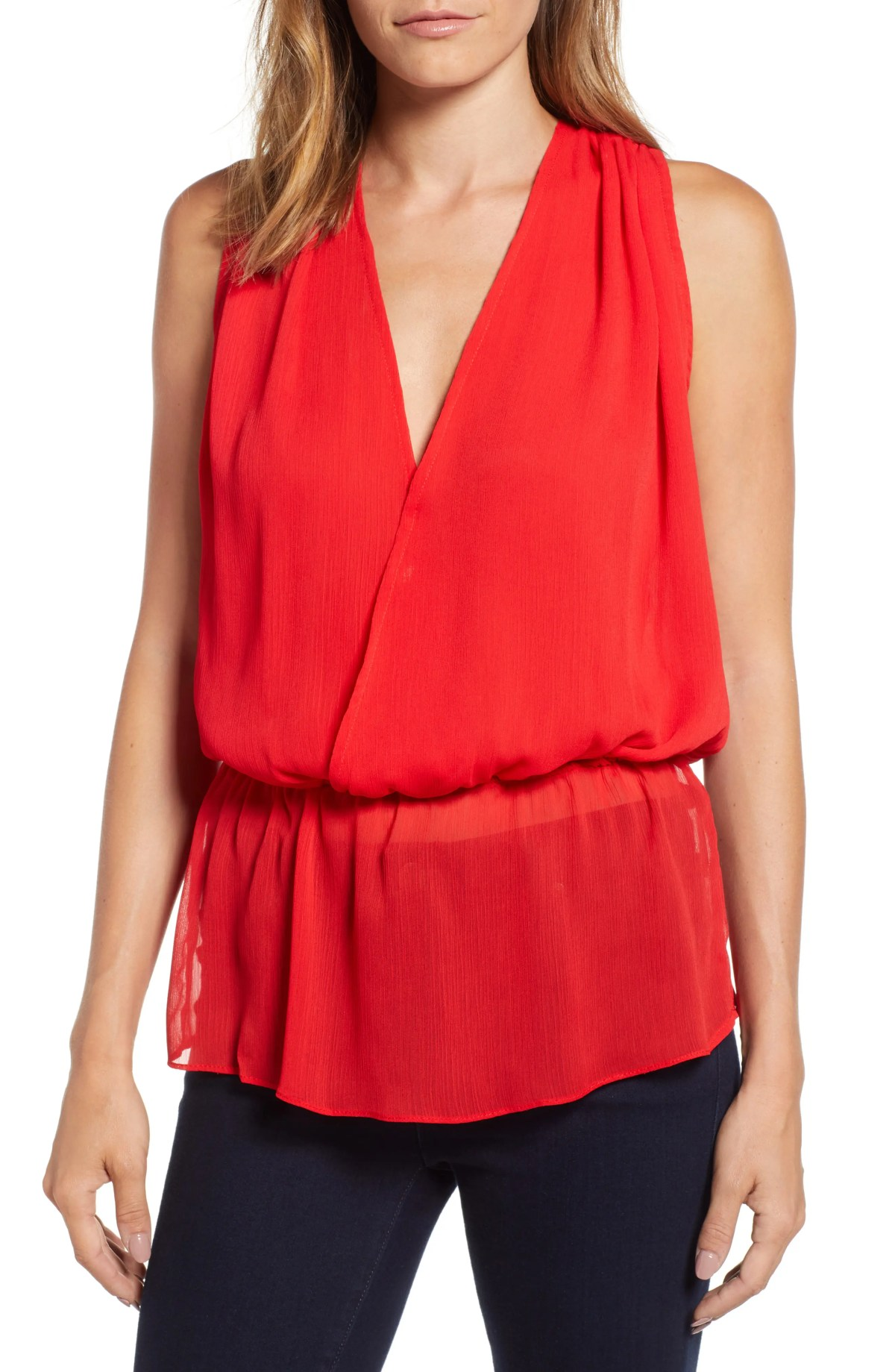 Faux Wrap Blouson Top, Main, color, TANGERINE HEAT