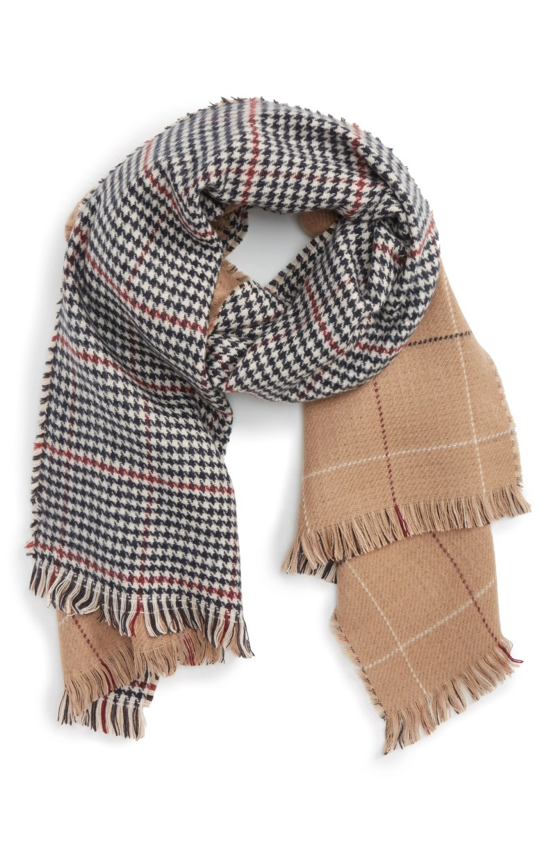 Reversible Houndstooth & Grid Scarf, Alternate, color, TAN MULTI