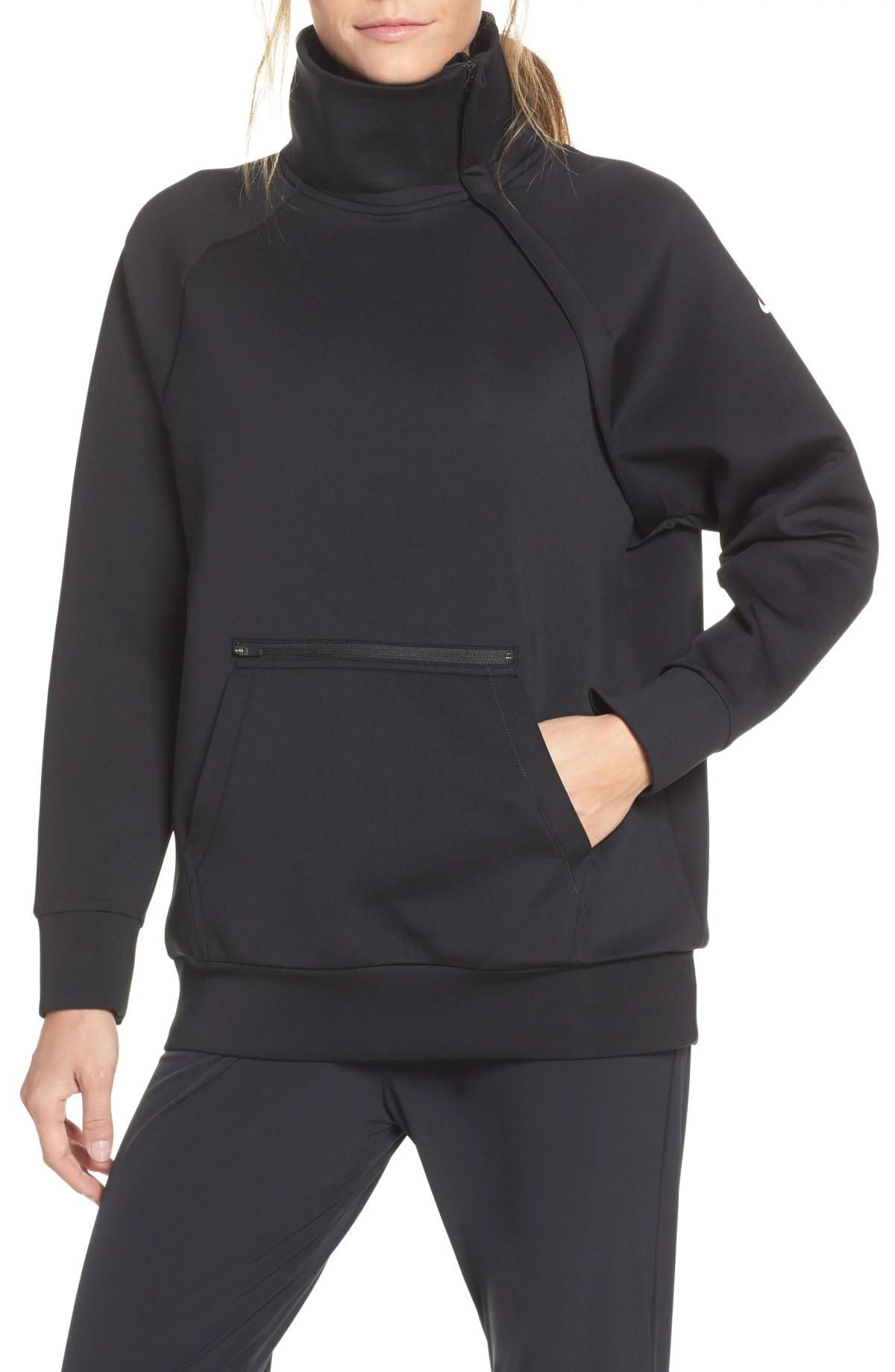 NIKE Mock Neck Zip Pullover, Main, color, BLACK/ WHITE