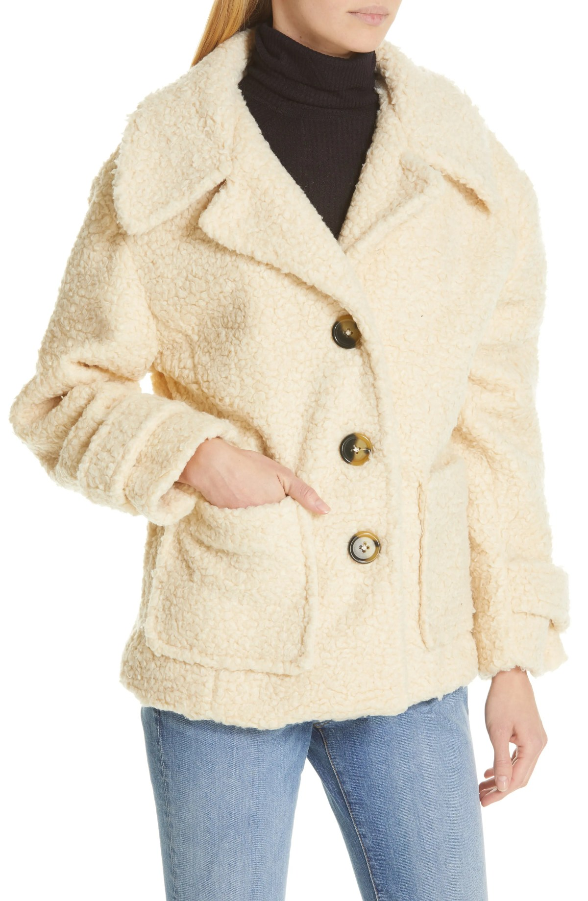 FREE PEOPLE So Soft Peacoat, Alternate, color, IVORY