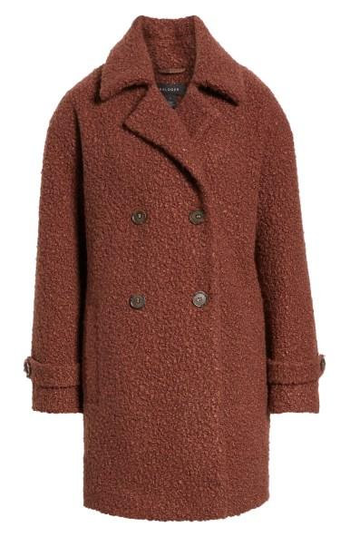 Double Breasted Bouclé Coat,                         Alternate,                         color, COGNAC
