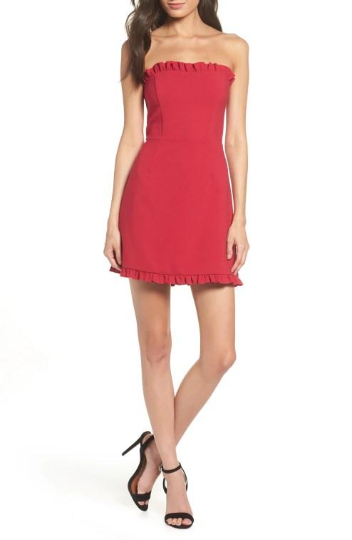 Whisper Strapless Minidress,                         Main,                         color, MIMOSA