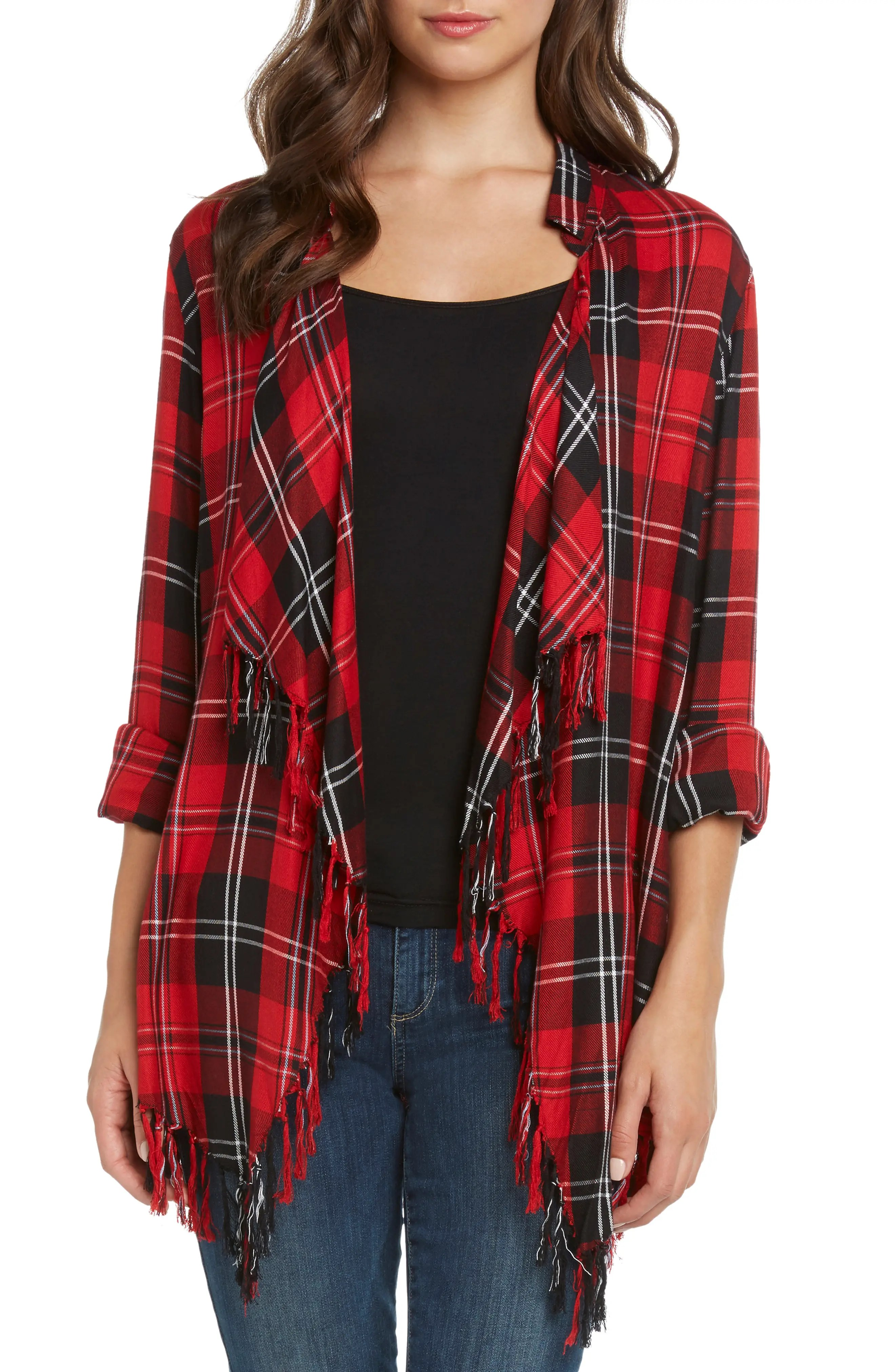 Plaid Fringe Top, Main, color, RED