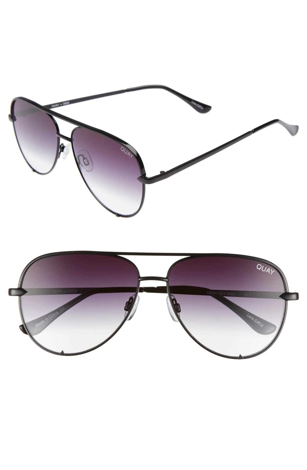 QUAY AUSTRALIA x Desi Perkins High Key Mini 57mm Aviator Sunglasses, Main, color, BLACK/ FADE TO CLEAR