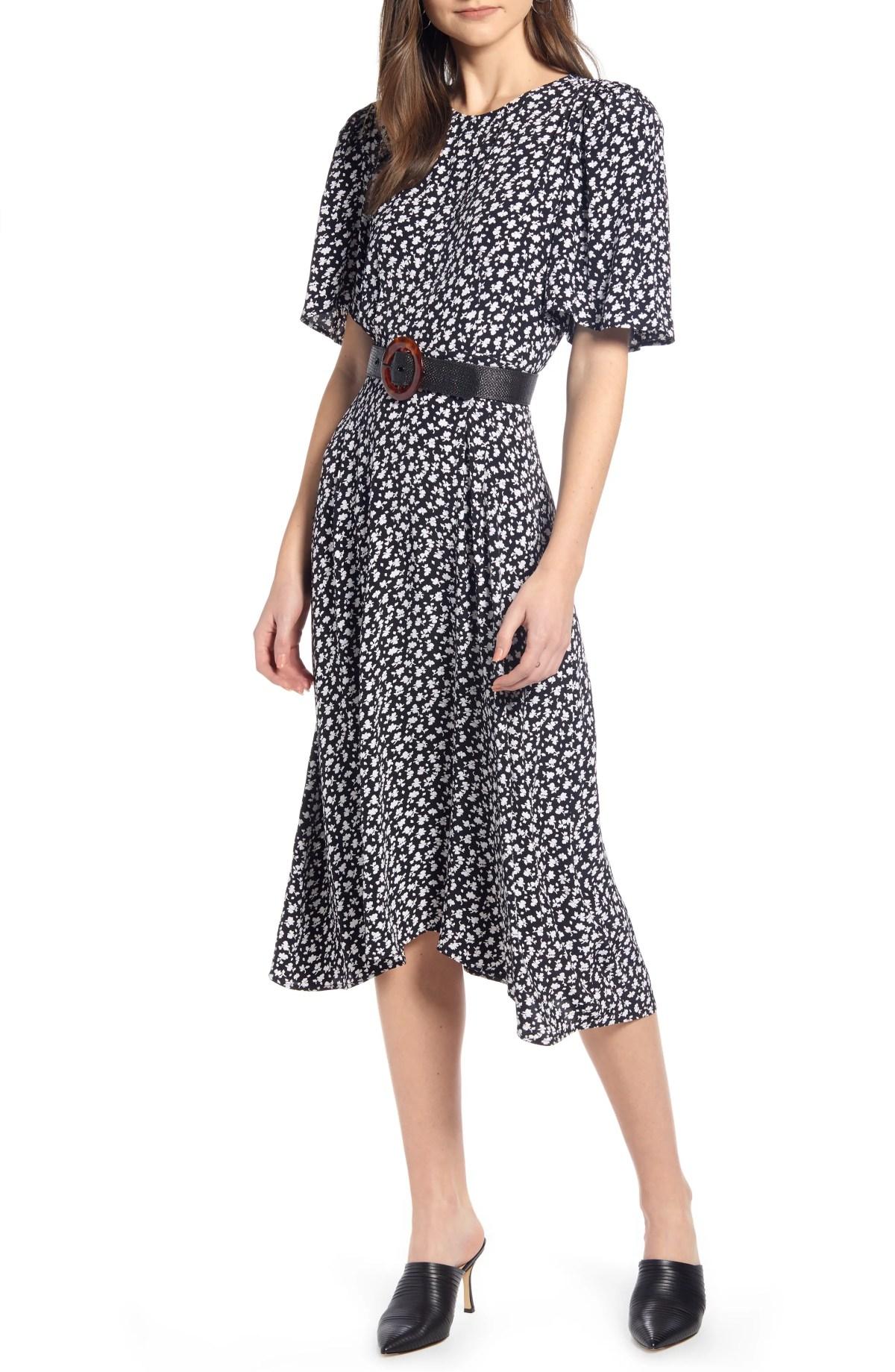 SOMETHING NAVY Strong Shoulder Floral Print Midi Dress, Main, color, SN BLACK VINTAGE FLORAL