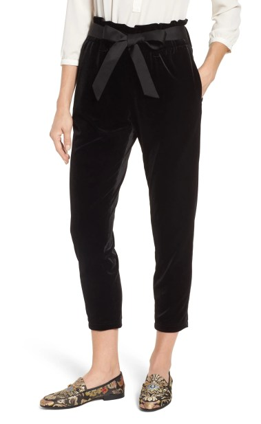 Tie Waist Velvet Pants, Main, color, BLACK