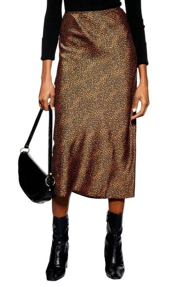 Animal Spot Midi Skirt,                         Main,                         color, RUST MULTI