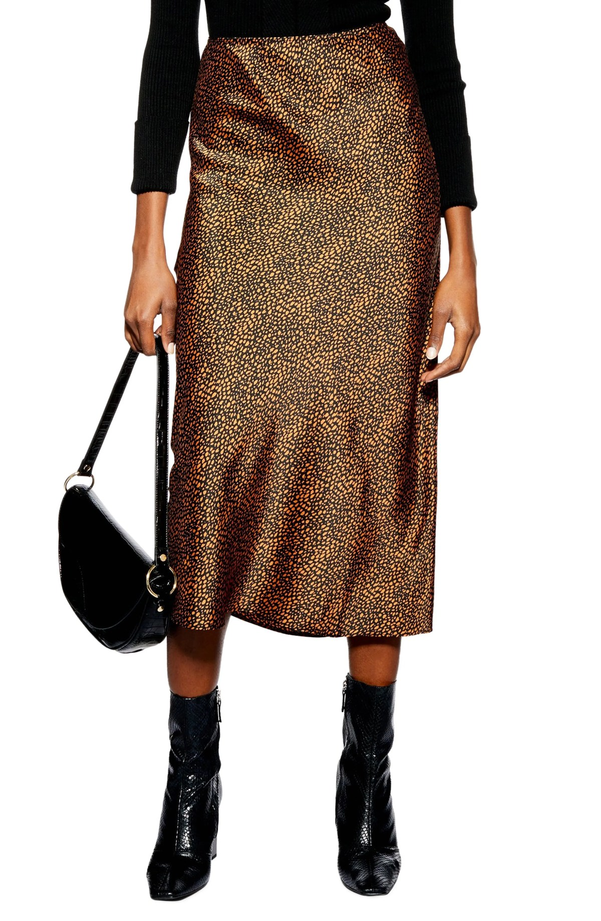 Animal Spot Midi Skirt,                         Main,                         color, RUST MULTI