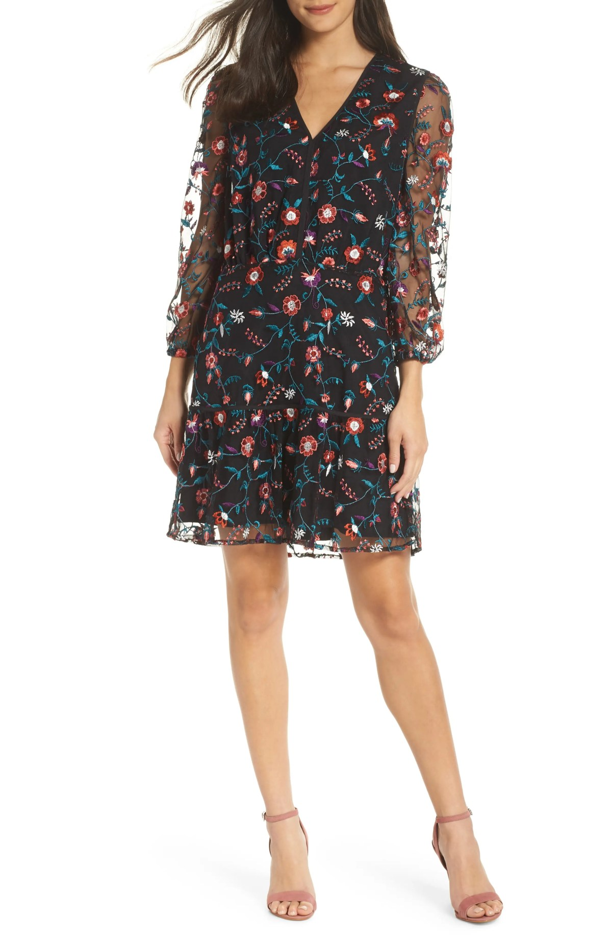 SAM EDELMAN Embroidered Mesh Dress, Main, color, RED PANSY