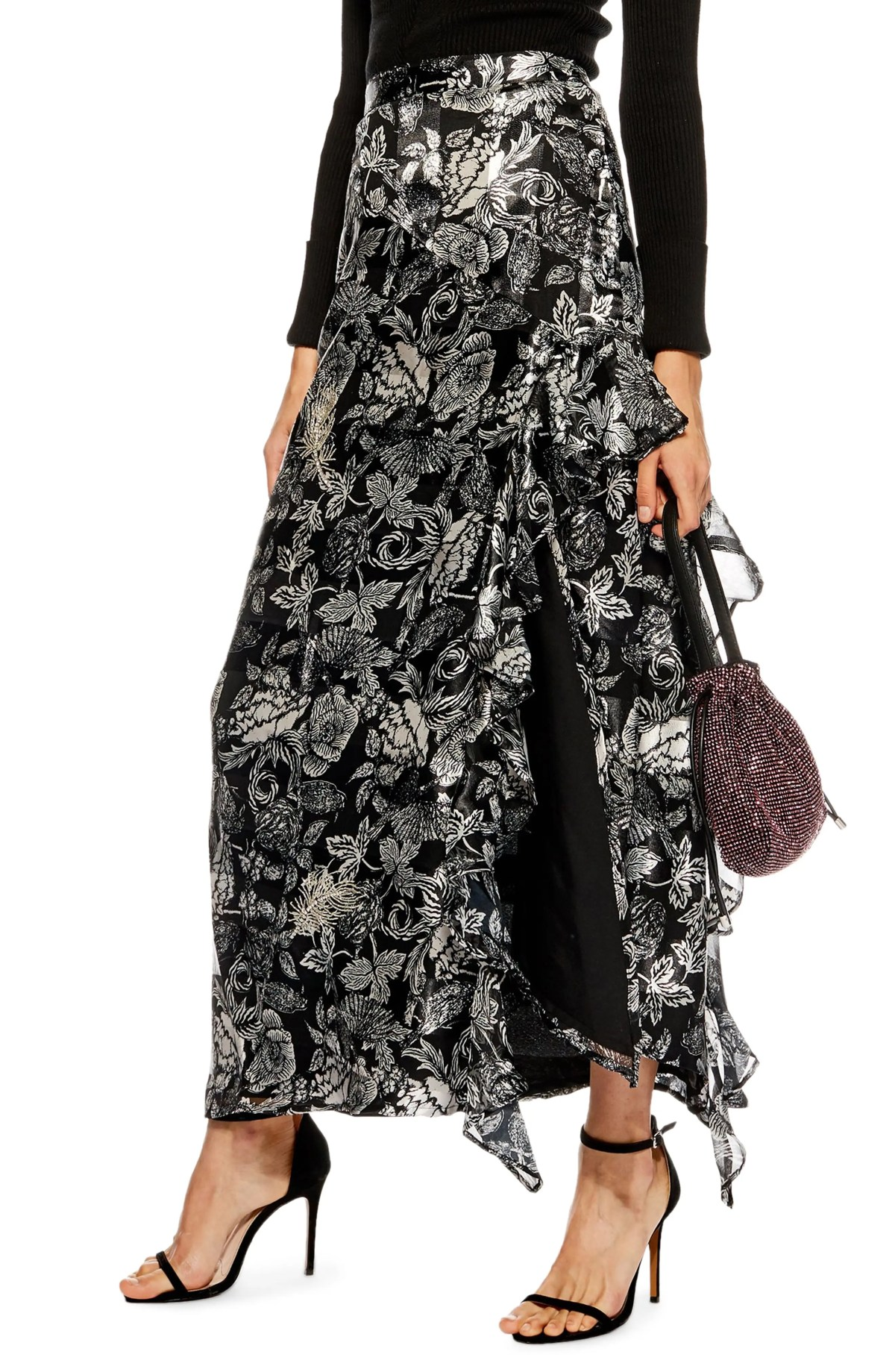 Feather Embellished Floral Maxi Skirt, Main, color, SILVER MULTI