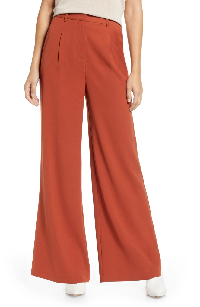 High Waist Flare Pants,                         Main,                         color, BROWN SPICE