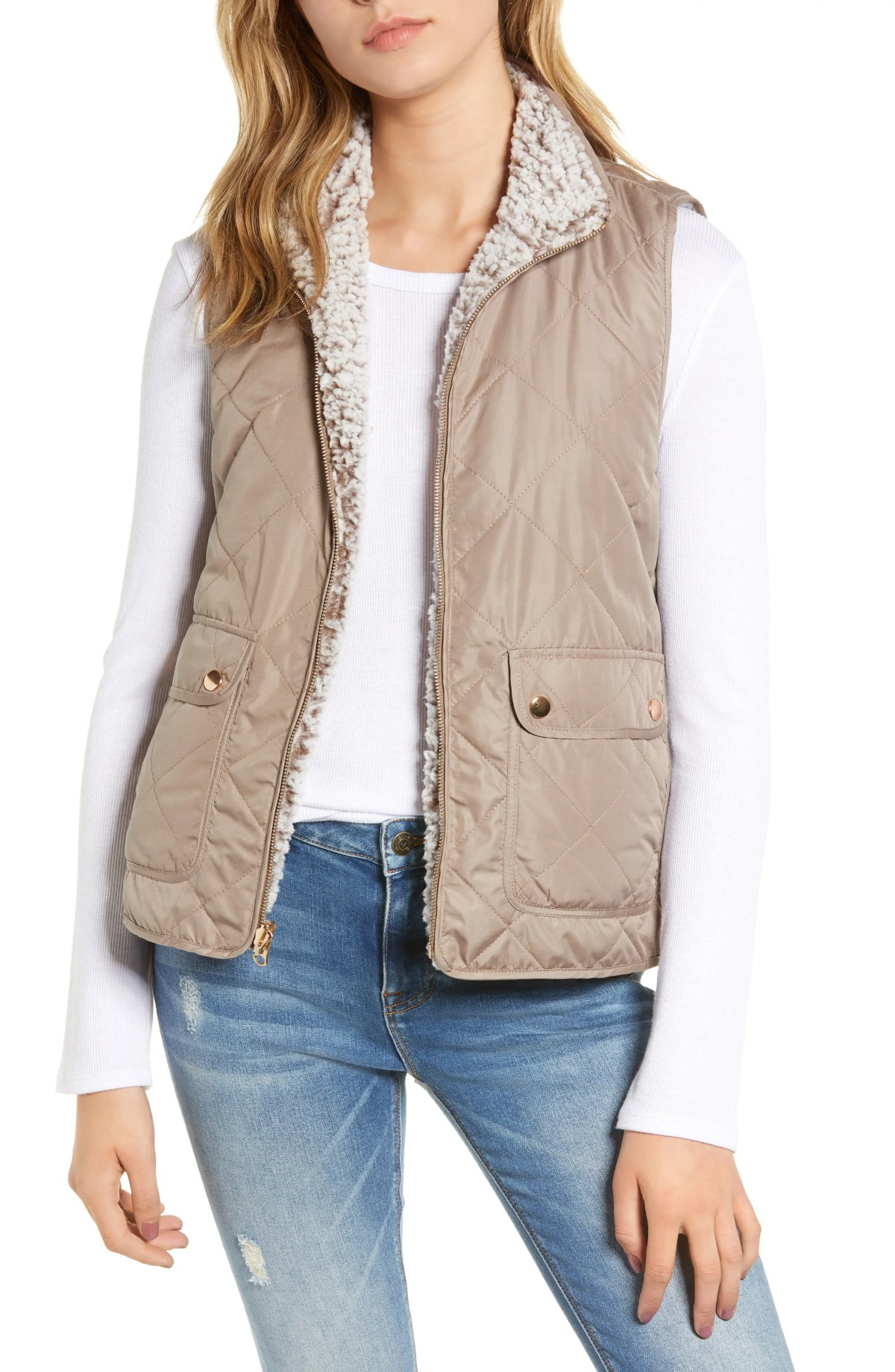THREAD & SUPPLY Reversible Fleece Lined Quilted Vest, Main, color, MUSHROOM