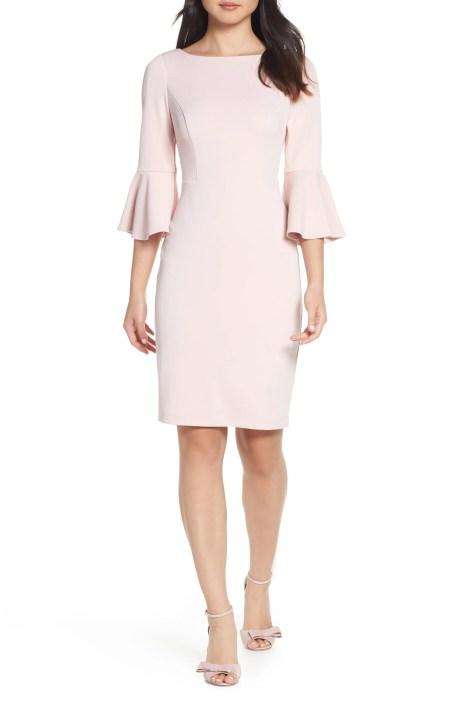 HARPER ROSE Bell Sleeve Bateau Neck Sheath Dress, Main, color, BLUSH