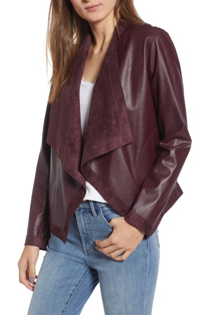 Teagan Reversible Faux Leather Drape Front Jacket, Main, color, FIG
