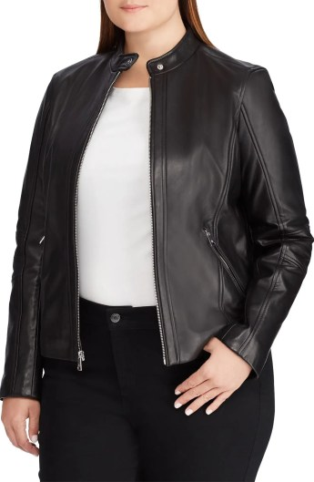 Leather Moto Jacket, Main, color, BLACK