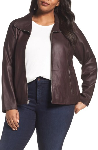 Fabian Leather Moto Jacket, Main, color, BURGUNDY