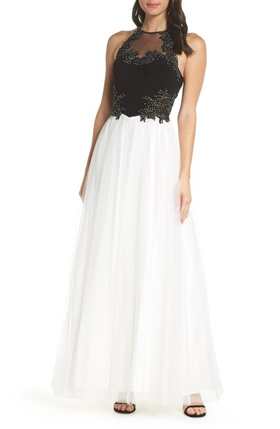 Appliqué Mesh Halter Neck Ballgown,                         Main,                         color, BLACK/ IVORY