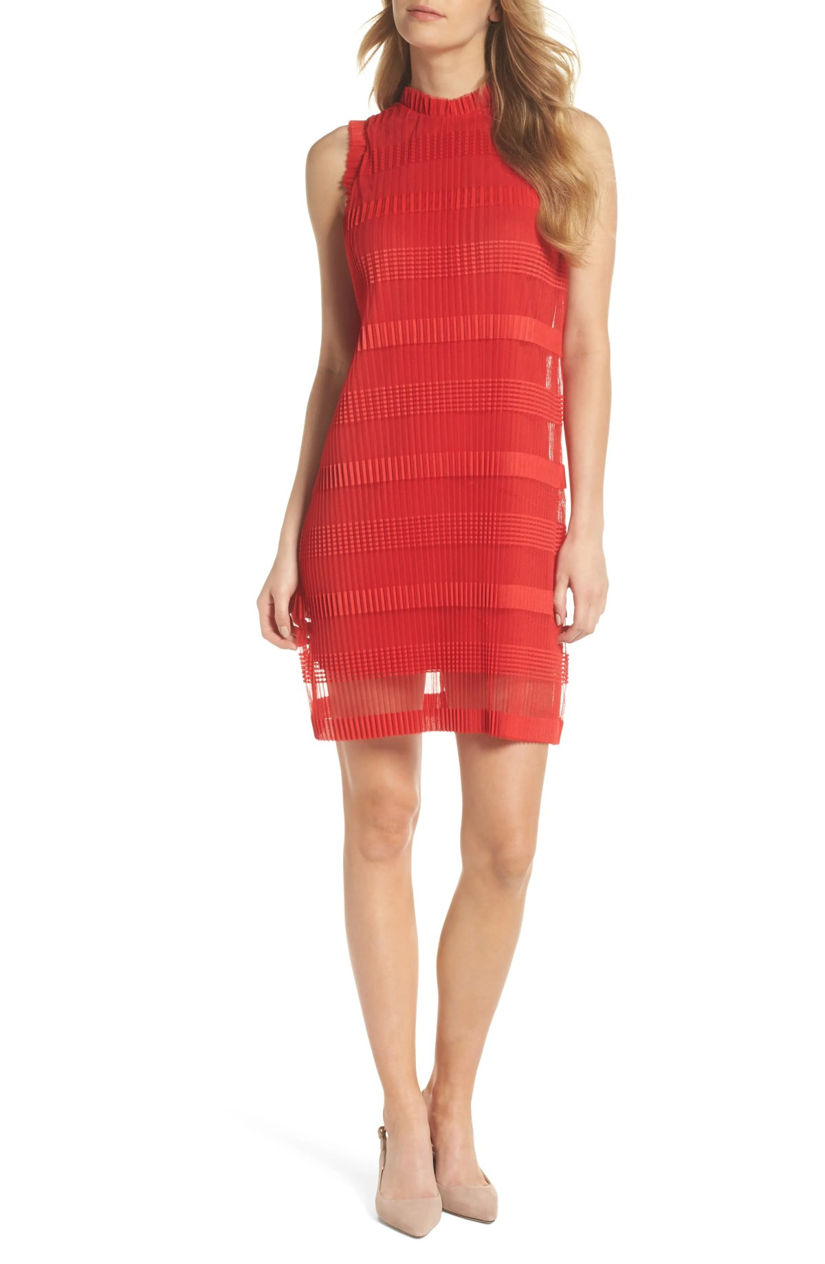 Stripe Pleated Chiffon Shift Dress, Main, color, RED