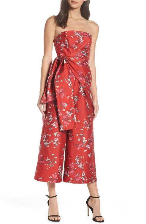 Heart & Soul Strapless Jumpsuit,                         Main,                         color, RED FLORAL