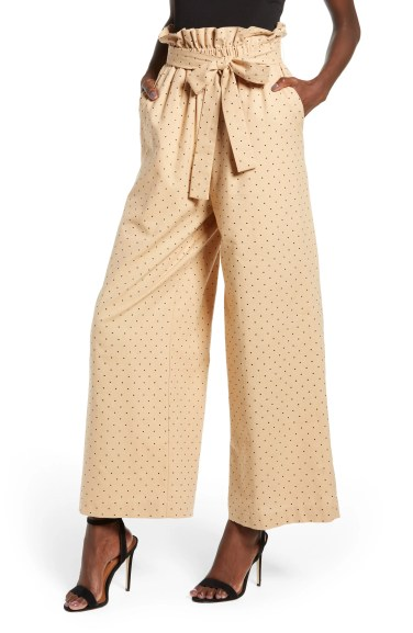 High Waist Polka Dot Pants,                         Main,                         color, TAN