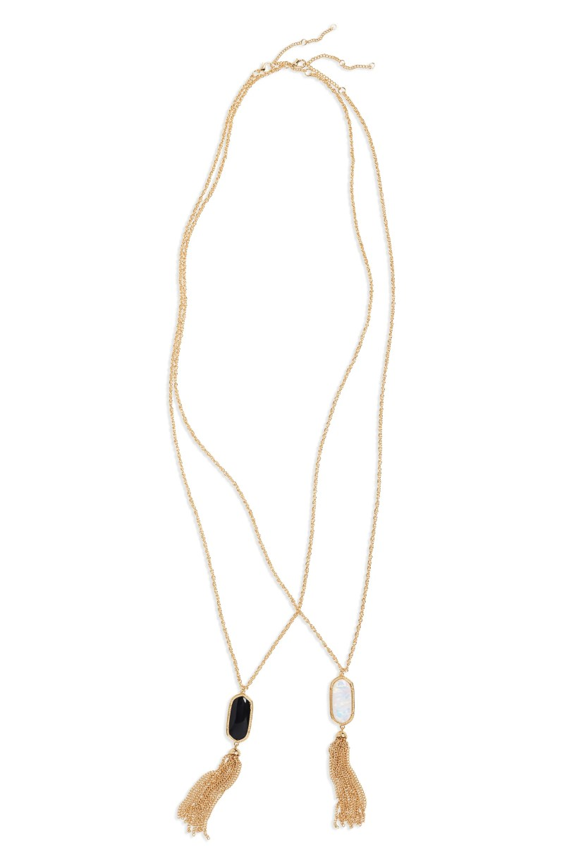 2-Pack Stone Tassel Pendant Necklaces, Main, color, ASSORTED / GOLD