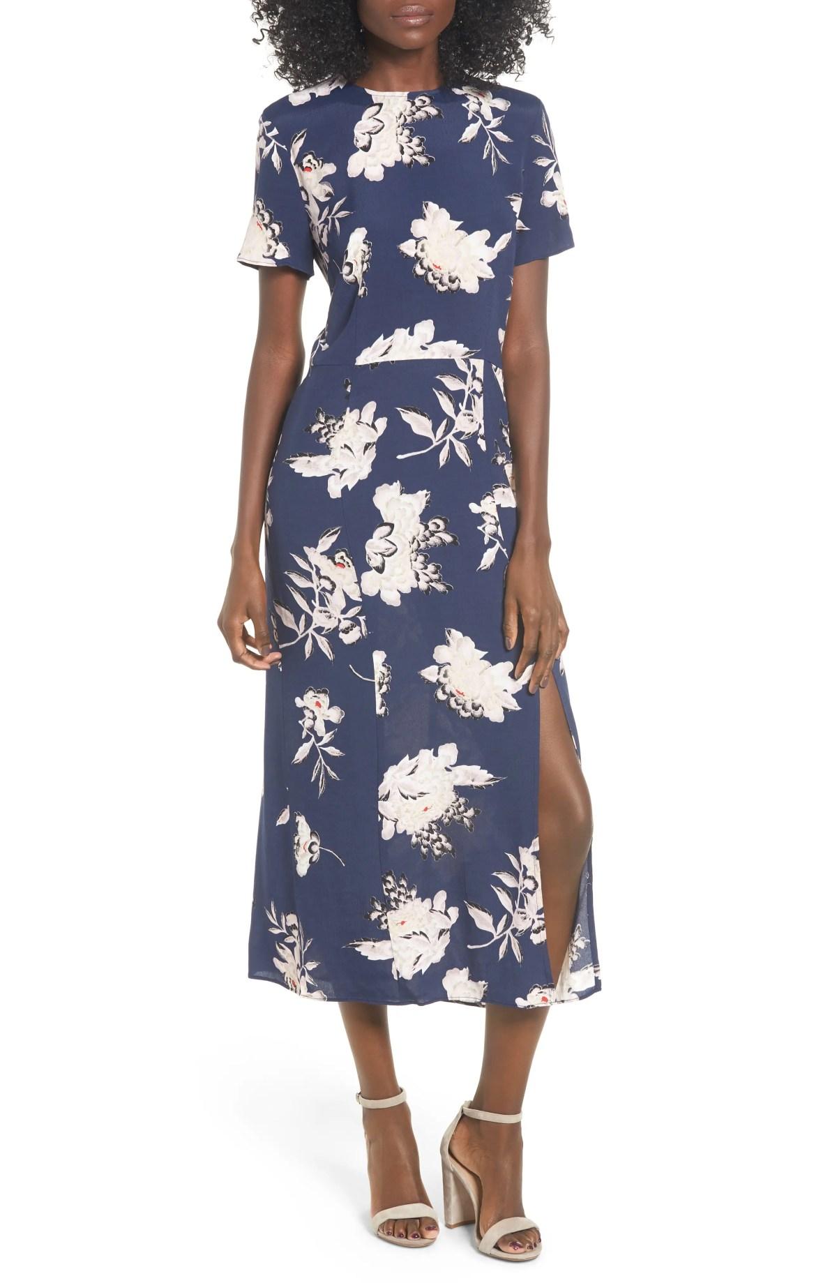 LEITH Print Midi Dress, Main, color, NAVY PEACOAT KIMONO FLORAL
