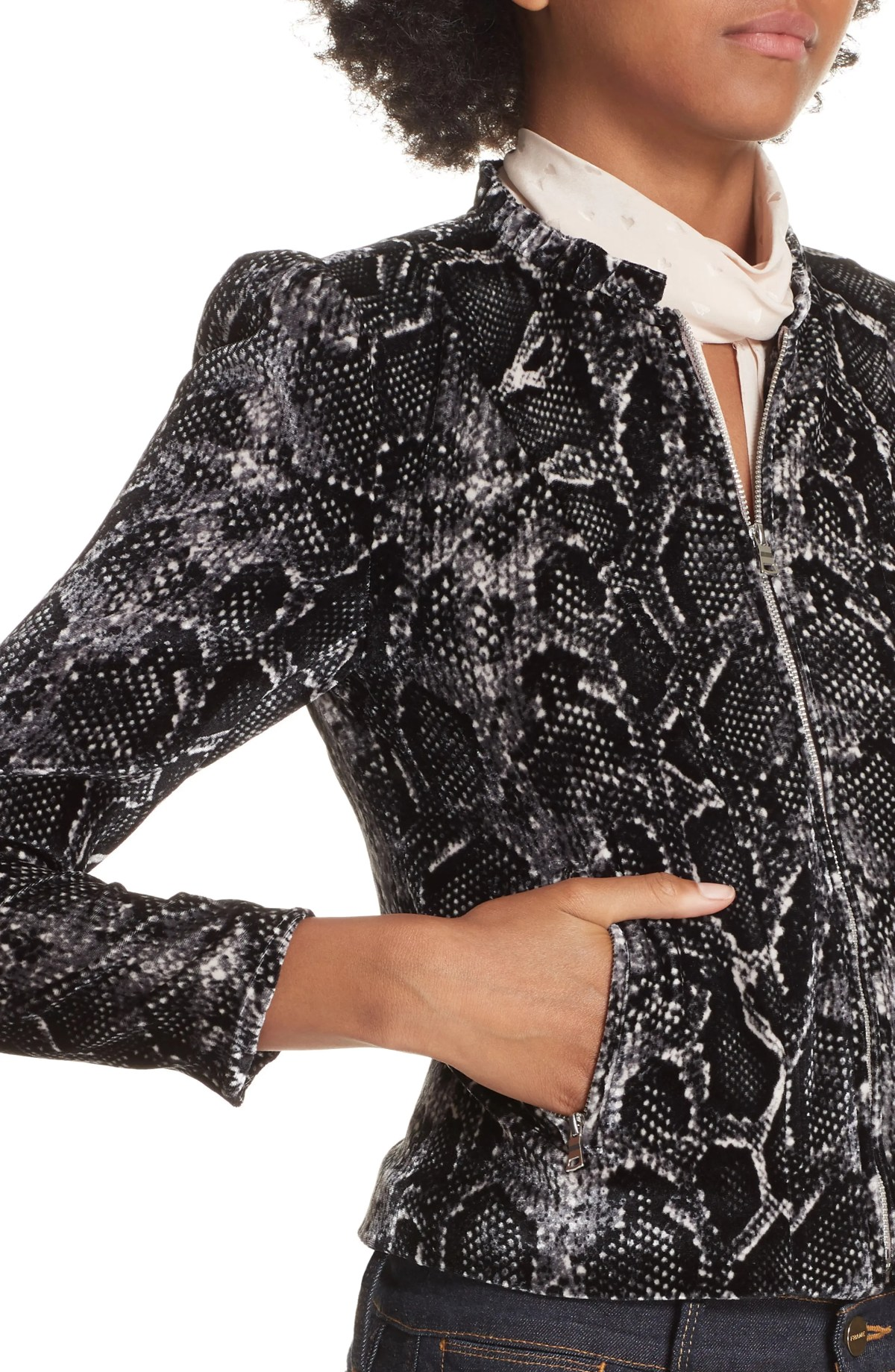 Snake Print Velvet Jacket,                         Alternate,                         color, WASHED BLACK COMBO