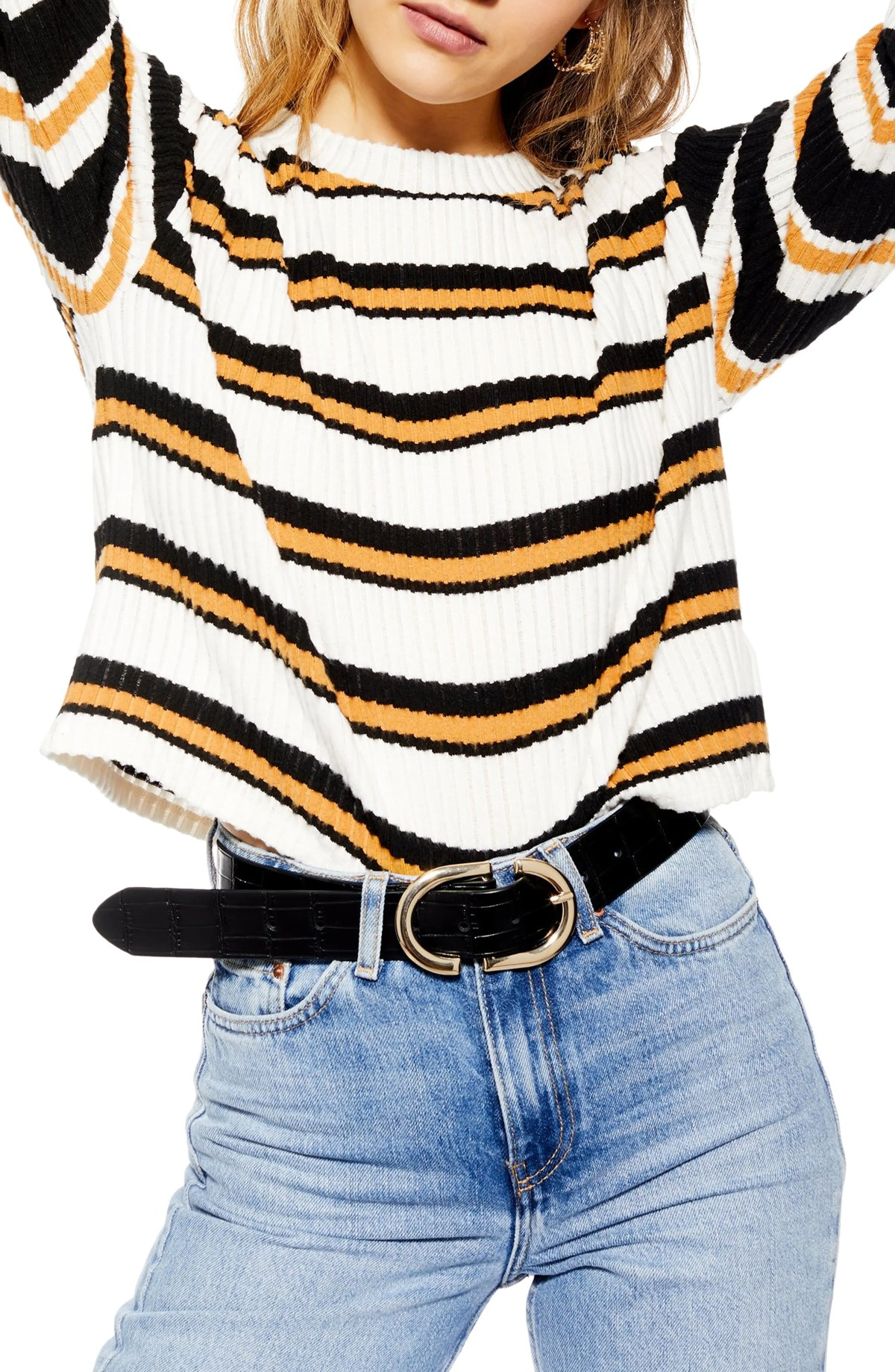 Stripe Cut & Sew Sweater, Main, color, BLACK MULTI