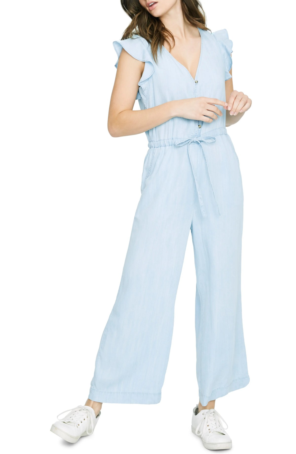 SANCTUARY Mica Ruffle Sleeve Jumpsuit, Main, color, CATALINA WASH