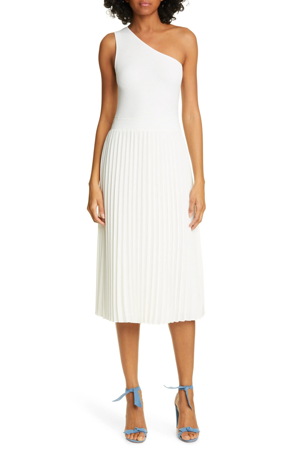 TED BAKER LONDON Miriom Mixed Media One-Shoulder Dress, Main, color, WHITE