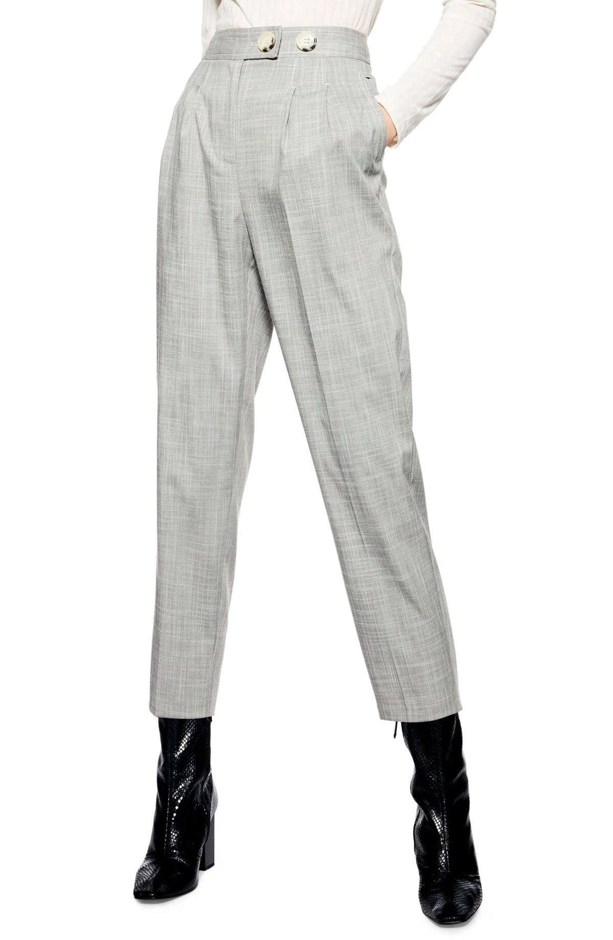 TOPSHOP Tonic Tapered Trousers, Main, color, GREY