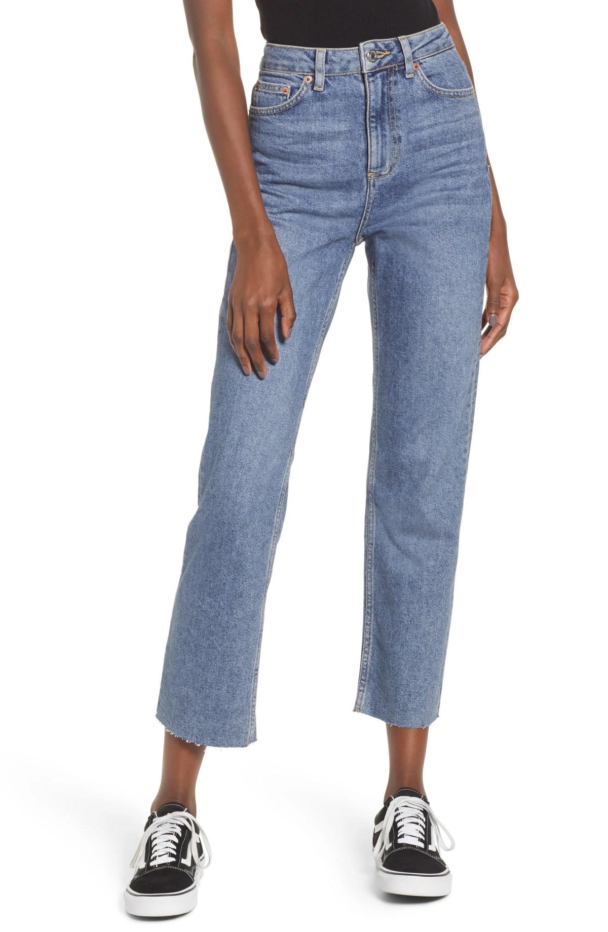 TOPSHOP Raw Hem Straight Leg Jeans, Main, color, MID BLUE
