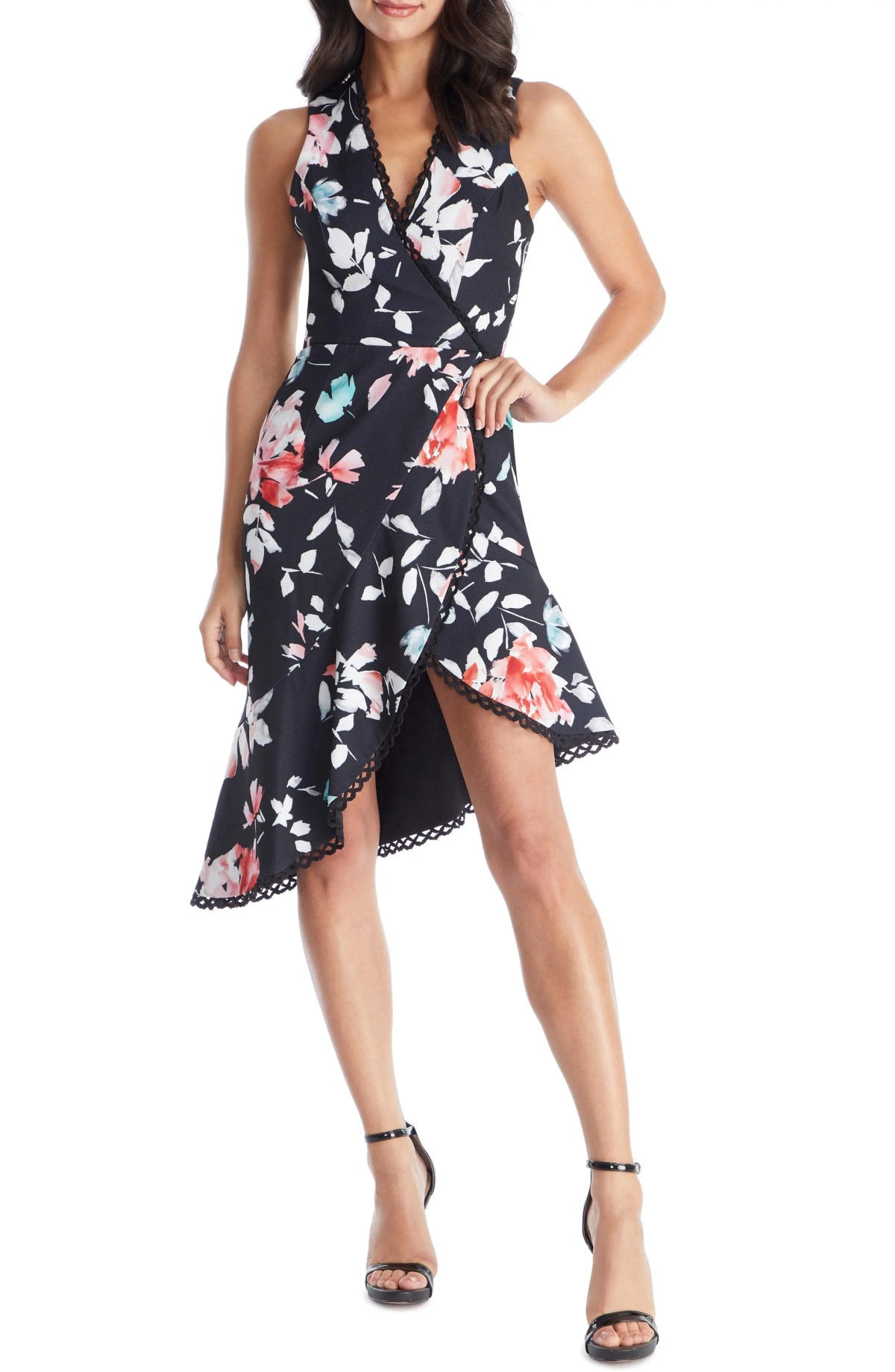 DRESS THE POPULATION Bijou Floral Plunge Dress, Main, color, BLACK/ CORAL FLORAL