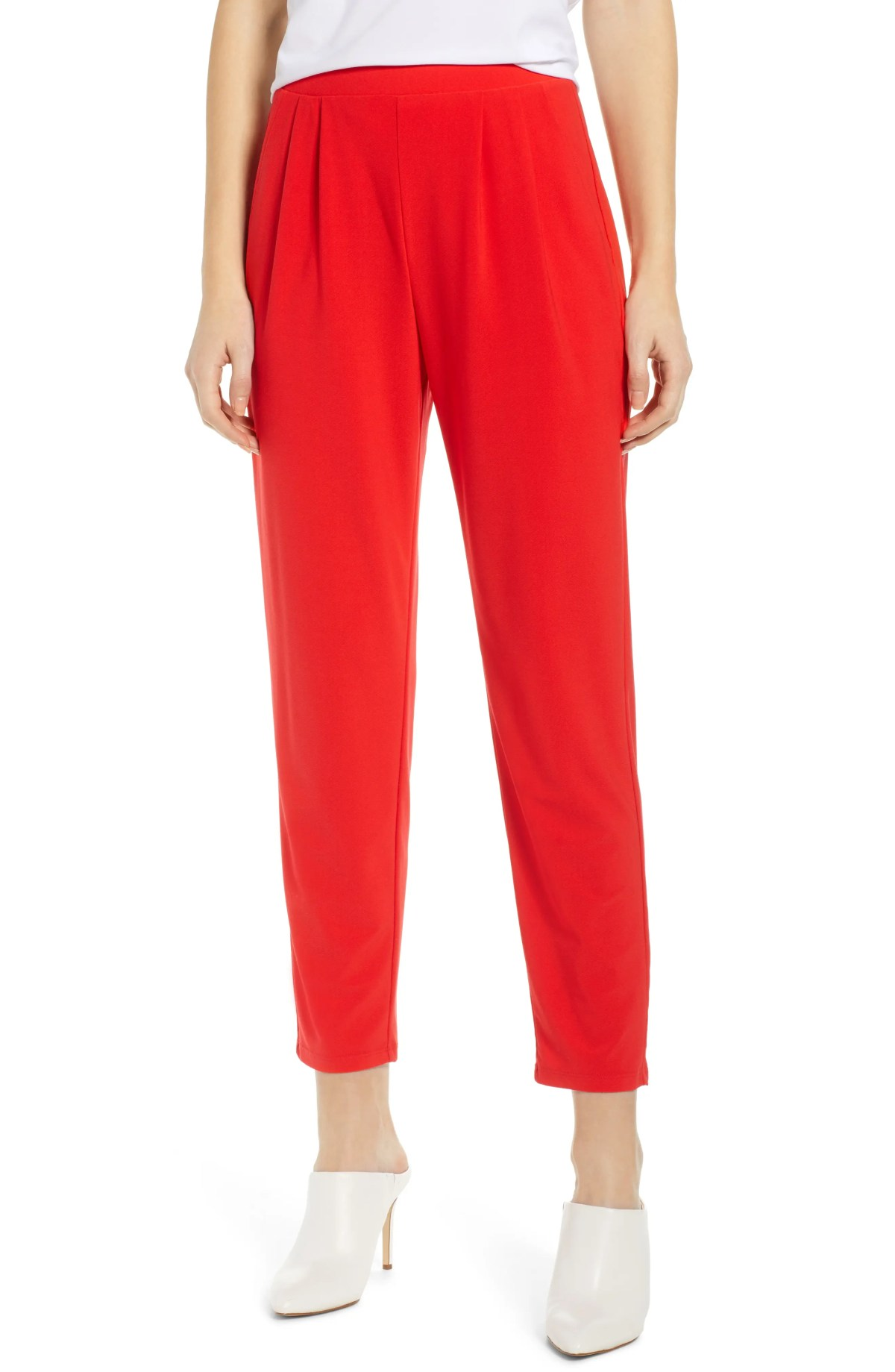 LEITH Pleat Front Trousers, Main, color, RED SCARLET