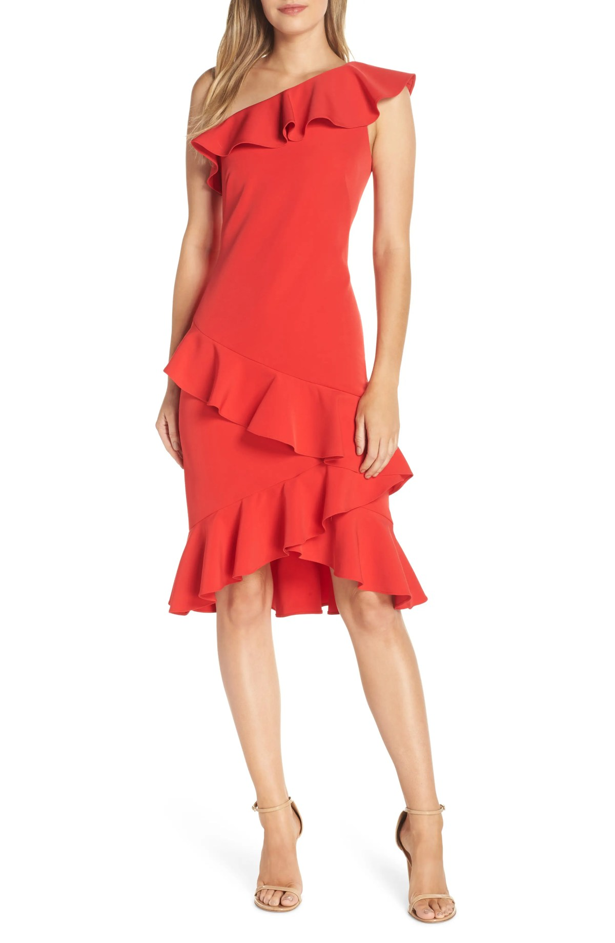 VINCE CAMUTO One-Shoulder Ruffle Dress, Main, color, RED