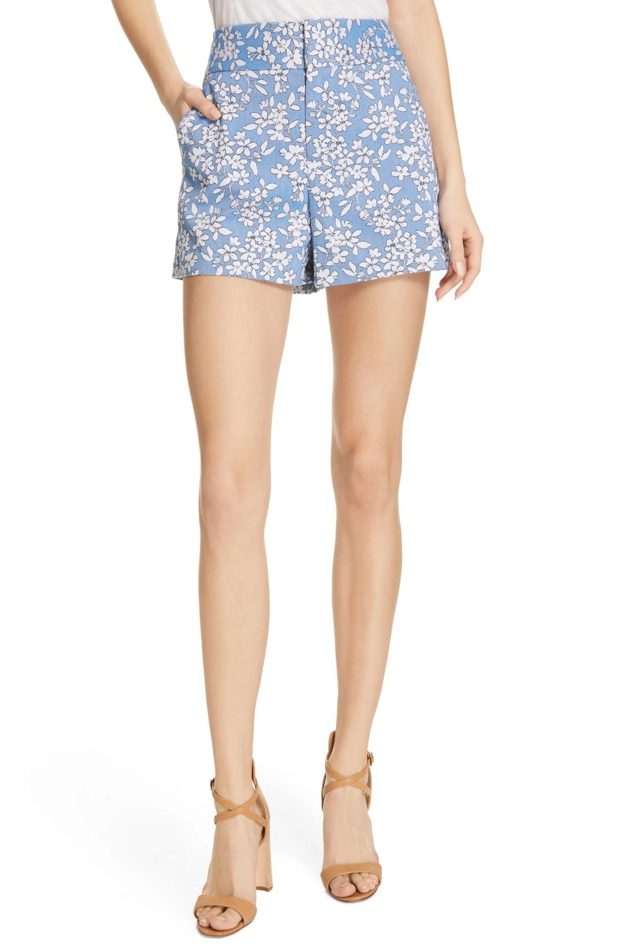 ALICE + OLIVIA High Waist Floral Shorts, Main, color, CORNFLOWER/ WHITE